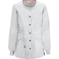 Code Happy Bliss Snap Front Warm-Up Jacket White Jackets 4X