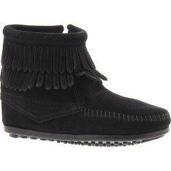 Minnetonka Double Fringe Side Zip Girls' Toddler-Youth Black Slip On 13 Toddler M found on Bargain Bro from Shoemall.com for USD $37.96