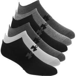Under Armour Men's Essential Lite No Show 6-Pack Socks Grey Socks M