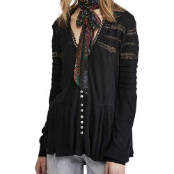 Free People Women's Set to Stun Top Black Knit Tops S