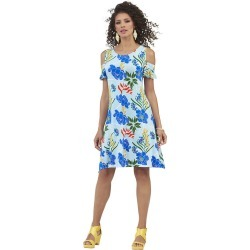 Cold Shoulder Swing Dress Multi Dresses 4X found on Bargain Bro India from Shoemall.com for $29.95
