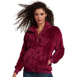 Plush Full-Zip Jacket Burgundy Coats L