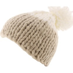 Free People Women's Cozy Up Color Block Pom Beanie Bone Hats One Size