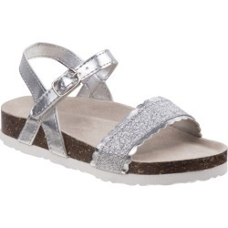 Laura Ashley Sandal LA81221S Girls' Toddler-Youth Silver Sandal 4 Youth M