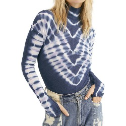 Free People Women's Psychedelic Turtle Navy Knit Tops XS