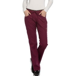 Cherokee Medical Uniforms LUXE SPORT Mid Rise Draw Pant Burgundy Pants 2X-Long