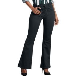 Lace-Up Waist Flare Jean Black Pants 4-Regular