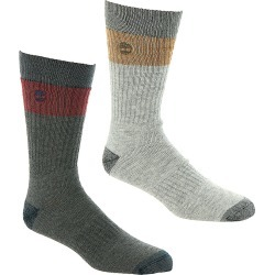 Timberland Men's Colorblock Crew 2-Pack Socks Grey Socks One Size