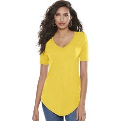 Essential V-Neck Tee Yellow Knit Tops 2X