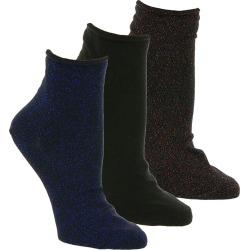 Steve Madden Women's SM38155C 3-Pack Roll Top Anklets Black Socks One Size