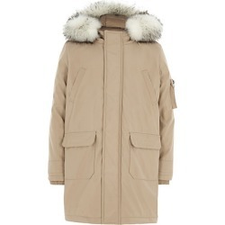 Boys Beige faux fur trim hood parka coat found on MODAPINS from River Island - UK for USD $44.29