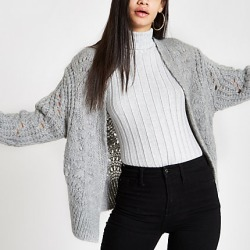 Womens Grey knitted cardigan found on MODAPINS from River Island - UK for USD $26.12