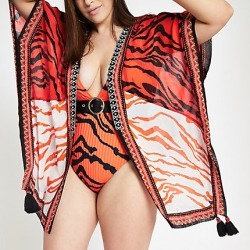 Womens Plus Red tiger print embellished kimono found on MODAPINS from River Island - UK for USD $49.63