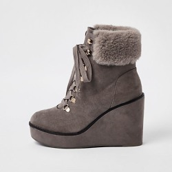 Womens Grey lace-up wedge heel boots found on MODAPINS from River Island - UK for USD $38.63