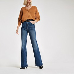 Womens Dark Blue RI flared jeans found on MODAPINS from River Island - UK for USD $59.08
