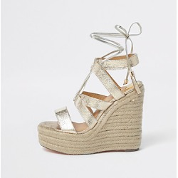 River Island Womens Gold metallic tie-up espadrille wedges