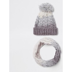 Kids Grey ombre knit hat and snood set found on MODAPINS from River Island - UK for USD $12.65