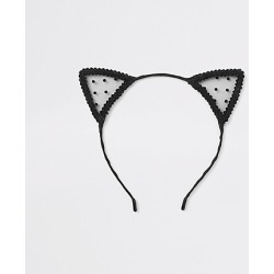 Womens Black polka dot lace cat ears headband found on MODAPINS from River Island - UK for USD $7.59