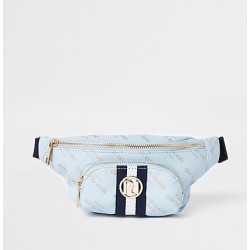 River Island Girls blue RI print contrast stripe bum bag found on MODAPINS from RIver Island US for USD $24.00