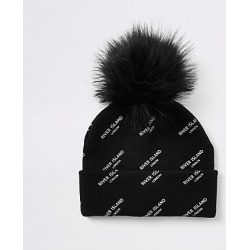 Kids Black RI monogram faux fur beanie hat found on MODAPINS from River Island - UK for USD $10.12