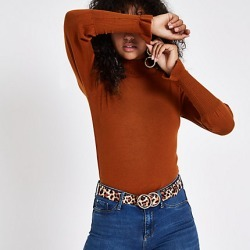 Womens Brown turtle neck long sleeve jumper found on MODAPINS from River Island - UK for USD $33.96