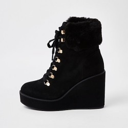 Womens Black lace-up wedge heel boots found on MODAPINS from River Island - UK for USD $38.63