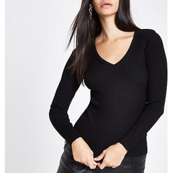 Womens Black knit ribbed shoulder padded V neck top found on MODAPINS from River Island - UK for USD $33.96