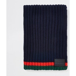Boys Navy contrast stripe knit scarf found on MODAPINS from River Island - UK for USD $12.65