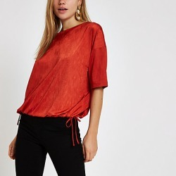 Womens Red elastic hem short sleeve T-shirt found on MODAPINS from River Island - UK for USD $31.34