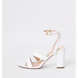 River Island Womens White asymmetric strappy block heel sandals