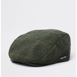 Boys Khaki green check flat peak cap found on MODAPINS from River Island - UK for USD $10.12