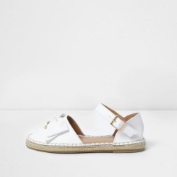 River Island Girls white bow top espadrille sandals