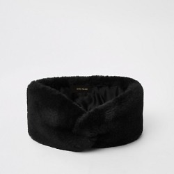 Womens Black faux fur headband found on MODAPINS from River Island - UK for USD $12.65