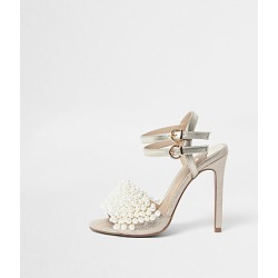River Island Womens Gold faux pearl vamp strappy heeled sandals