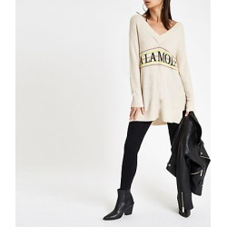 Womens Beige 'A la mode' v neck jumper found on MODAPINS from River Island - UK for USD $49.63