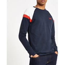Superdry Navy long sleeve T-shirt found on MODAPINS from River Island - UK for USD $32.64