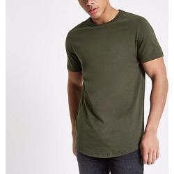 Mens Khaki green longline short sleeve T-shirt found on MODAPINS from River Island - UK for USD $10.12
