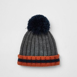 Mini boys Grey striped bobble top knot beanie found on MODAPINS from River Island - UK for USD $10.12