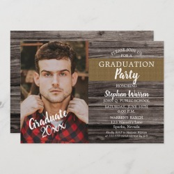 Rustic Woodsy Photo Graduation Party Invitation found on Bargain Bro Philippines from Zazzle for $2.51