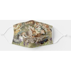Alice Adventures in Wonderland Mad Tea Party Adult Cloth Face Mask, Adult Unisex, Size: Large, Lemon Chiffon / Blanched Almond / found on Bargain Bro Philippines from Zazzle for $12.95