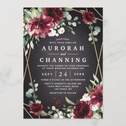 Burgundy Red Black and Gold Floral Elegant Wedding Invitation found on Bargain Bro Philippines from Zazzle for $2.25