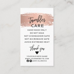 Tumbler Care Instructions Card with Rose Gold found on Bargain Bro Philippines from Zazzle for $22.95