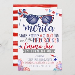 Patriotic Red White and Blue Little Firecracker Invitation found on Bargain Bro Philippines from Zazzle for $2.55
