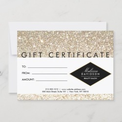 Champagne Gold Glitter Salon Gift Certificate Card found on Bargain Bro Philippines from Zazzle for $2.40