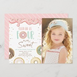 Donut Four Ever Sweet Girl 4th Fourth Birthday Invitation found on Bargain Bro Philippines from Zazzle for $2.66