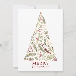 Christmas Card | Merry Christmas Tree Rustic Pine and Holly Berry Holiday Card found on Bargain Bro Philippines from Zazzle for $2.21