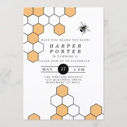 Modern Honeycomb Bumblebee Birthday Party Invitation found on Bargain Bro Philippines from Zazzle for $2.45