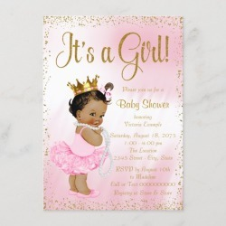 Pink Gold Ethnic Ballerina Tutu Pearl Baby Shower Card found on Bargain Bro Philippines from Zazzle for $2.15