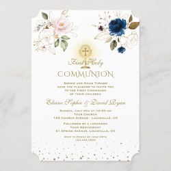 Pink Blue Floral Gold Twins First Holy Communion Invitation found on Bargain Bro Philippines from Zazzle for $2.80