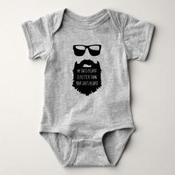 Dad beard Baby One Piece Body Suit Baby Bodysuit, Infant Unisex, Size: 18 Month, Heather Grey